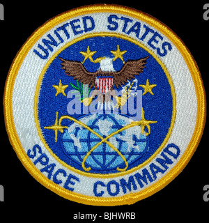 Historic patch for United States Space Command isolated on black background. This was the official patch worn on - Stock Photo