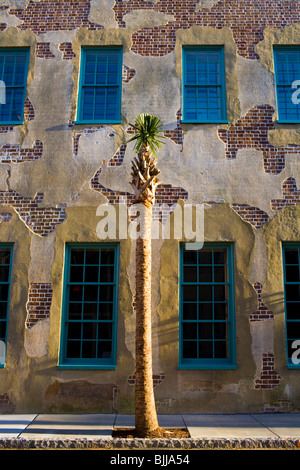 Wall of Dock Street Theater, Charleston, South Carolina - Stock Photo