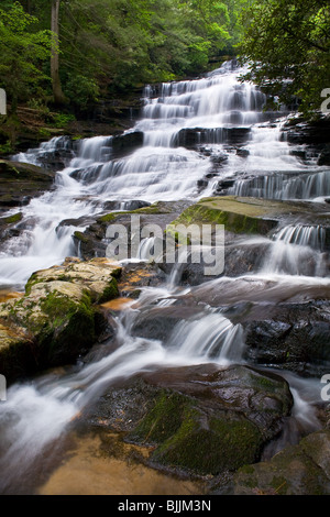 Minnehaha Falls are on Falls Branch between its headwaters on Stony Mountain and where it empties into Lake Rabun. - Stock Photo