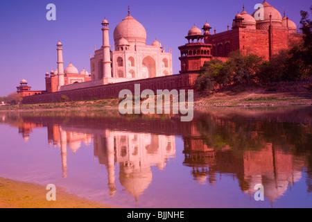 Taj Mahal seen from the Yamuna River, Agra, India, Taj Mahal, UNESCO World Heritage Site, built in 1631 by Shal - Stock Photo