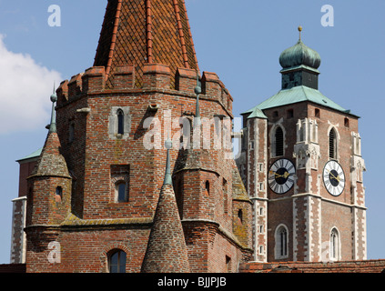 Minster, Kreuztor Gate, Ingolstadt, Bavaria, Germany, Europe - Stock Photo
