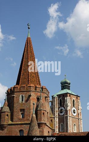 Minster, Kreuztor Gate, Ingolstadt, Bavaria, Germany, Europe - Stock Photo