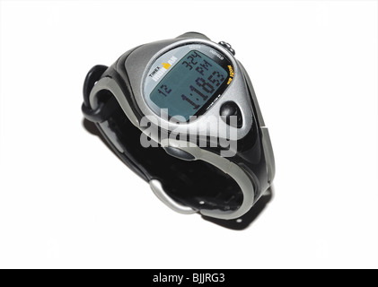 Man's sport wristwatch with timer controls - Stock Photo