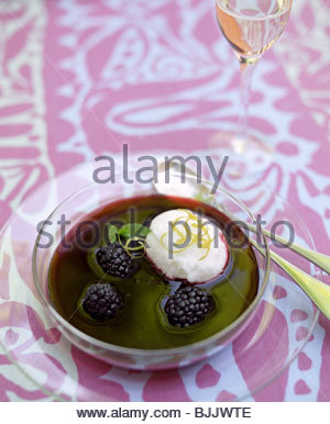 Fruit soup with raspberry, blueberry, blackberry and mint ...