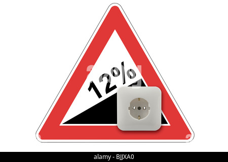 Symbolic image for rising electricity costs by 12% - Stock Photo