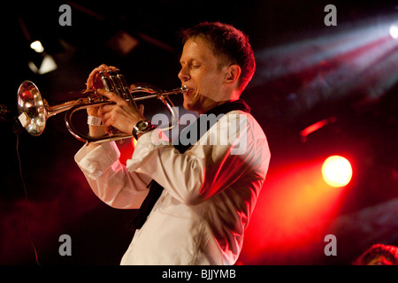 Patrick Ottiger, trumpeter from the Swiss BrazzFunk formation Spinning Wheel performing live in the Schueuer, Lucerne, - Stock Photo