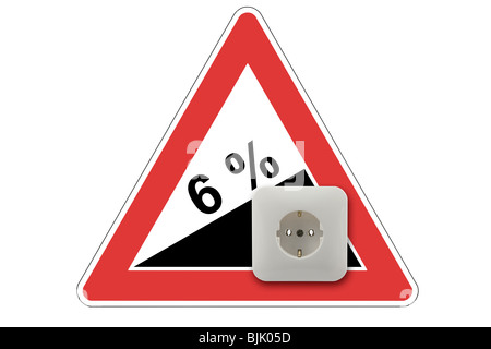 Symbolic image for rising electricity costs by 6% - Stock Photo