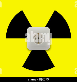 Symbolic image for electricity from nuclear energy, nuclear power - Stock Photo