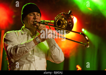 Daniel Ringgenberg, trombone player with the Swiss BrazzFunk formation Spinning Wheel performing live in the Schueuer, - Stock Photo