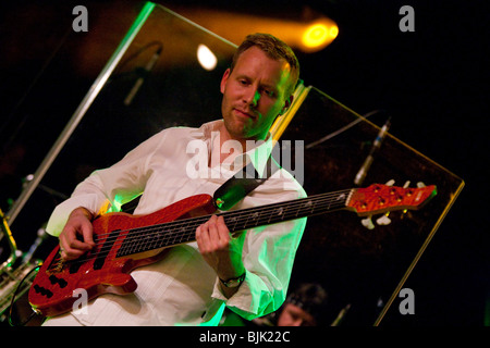 Mario Thuerig, bassist of the Swiss BrazzFunk formation Spinning Wheel performing live in the Schueuer, Lucerne, - Stock Photo