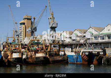 Commercial fishing fleet boats berthed in the port of Cape Town South Africa - Stock Photo