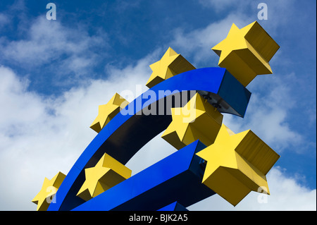 Symbol of the euro currency, Frankfurt am Main, Hesse, Germany, europe - Stock Photo