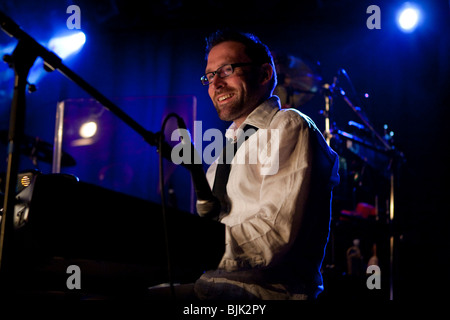 Ueli Reinhard, keyboard player of the Swiss BrazzFunk formation Spinning Wheel performing live in the Schueuer, - Stock Photo