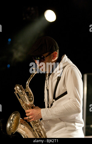 Armin Roeoesli, saxophonist of the Swiss BrazzFunk formation Spinning Wheel performing live in the Schueuer, Lucerne, - Stock Photo