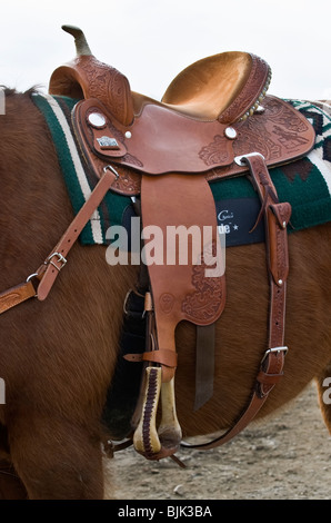 An image of a western leather riding saddle - Stock Photo