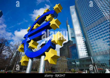 Symbol of the euro currency in front of the European Central Bank, ECB, Eurotower, Frankfurt am Main, Hesse, Germany, - Stock Photo