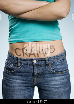 Female Abdomen with CRAMPS written on it - Stock Photo
