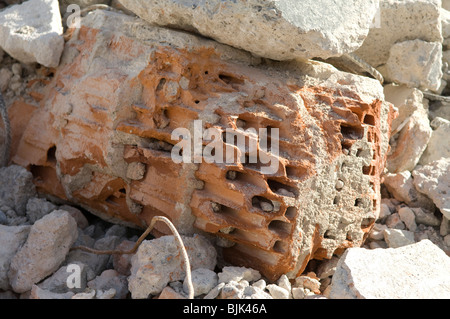 Construction waste, air brick, close-up - Stock Photo