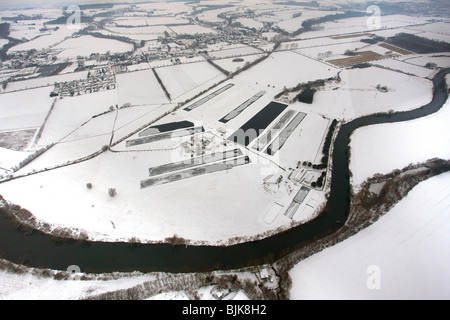 Aerial view, fisheye, Ruhr river, Warmen water works, waterworks Hamm, Waldemey, Froendenberg, Ruhrgebiet area, - Stock Photo