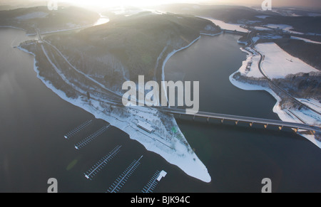 Aerial photo, Biggesee Reservoir in the snow in winter, Attendorn, North Rhine-Westphalia, Germany, Europe - Stock Photo