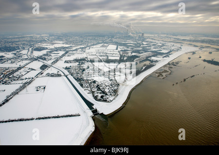 Aerial view, Emscher estuary, Rhine floods, snow, Emscher river, Emscher course, Dinslaken, North Rhine-Westphalia, - Stock Photo