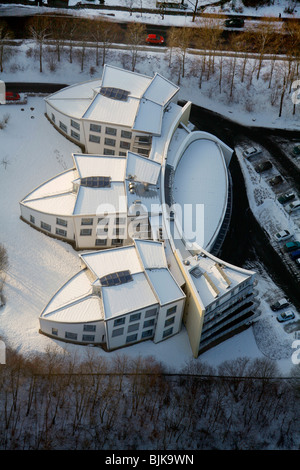 Aerial view, office buildings, commercial property, Am Eichenhain, snow, winter, Siegen, Sauerland area, North Rhine - Stock Photo