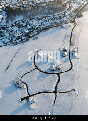 Aerial photo, construction area in the snow in winter, single-family homes, Olpe, North Rhine-Westphalia, Germany, - Stock Photo