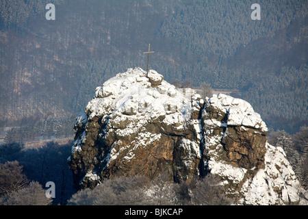 Aerial photo, Bruchhauser Steine, four large porphyry rocks located on a mountain, snow, winter, Olsberg, Sauerland, - Stock Photo