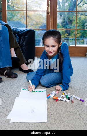 Young girl coloring with markers Stock Photo, Royalty Free Image ...