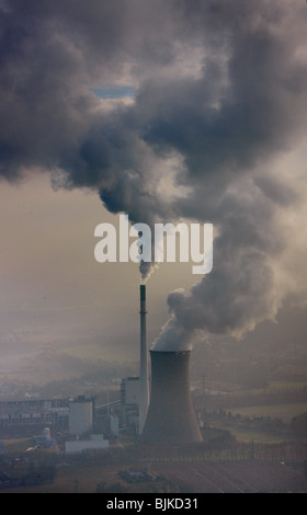 Aerial photo, smoke cloud from a power plant, Knepper Power Station, Ickern, Castrop-Rauxel, Ruhr area, North Rhine-Westphalia,