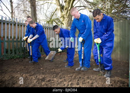 Students on a hard landscaping course - Stock Photo