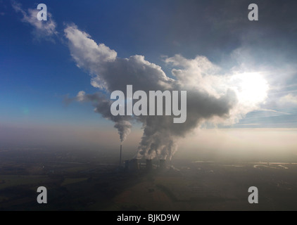 Aerial photo, Gersteinwerk coal power plant in the haze with a cloud, Hamm, Ruhr area, North Rhine-Westphalia, Germany, Europe