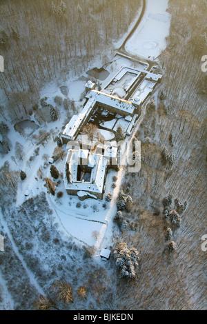 Aerial photo, Burg Schnellenberg Castle in the snow in winter, Attendorn, North Rhine-Westphalia, Germany, Europe - Stock Photo