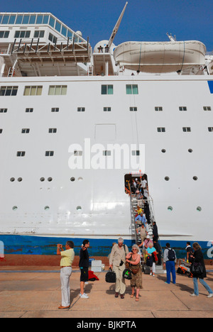 Listing COSTA EUROPA cruise ship after crashing into the quay, evacuation of the passengers, pier of Sharm el Sheikh - Stock Photo