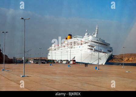 Listing COSTA EUROPA cruise ship after crashing into the quay, pier of Sharm el Sheikh on 26 February 2010, Egypt, - Stock Photo