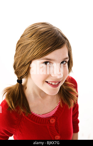 Girl with pigtails, portrait - Stock Photo