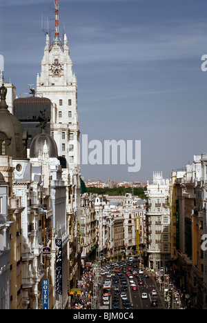 Telefonica building and Gran Via, Madrid, Spain, Europe - Stock Photo