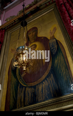 Icon of the Virgin Mary displayed in the Ethiopian Church, Jerusalem - Stock Photo