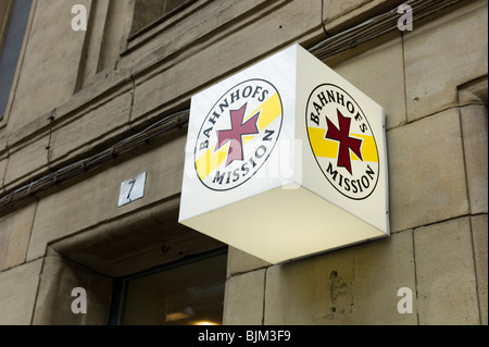 Exterior of the railway station mission in the central railway station, Frankfurt am Main, Hesse, Germany, Europe - Stock Photo