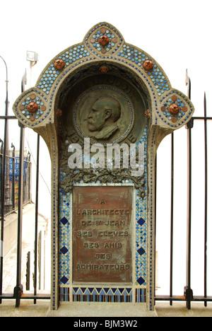 memorial for Anatole de Baudot, Architect of Saint-Jean-l'Evangéliste church in Montmartre Paris France - Stock Photo