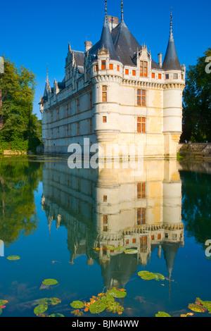 D'Azay-le-Rideau Castle, Loire Valley, France, Castle built in Middle Ages, Indre River Loire Valley, France, Built - Stock Photo