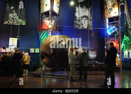 Visitors at 'Cosmos' exhibition. The Sergiy Korolyov Astronautics Museum in Zhytomyr. - Stock Photo
