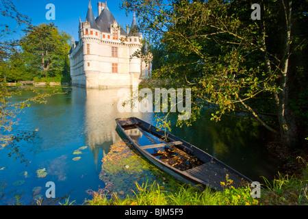 D'Azay-le-Rideau Castle, Loire Valley, France, castle built in middle ages, Indre River - Stock Photo