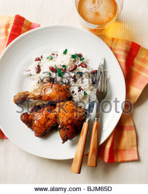 how to make jerk chicken with rice and beans