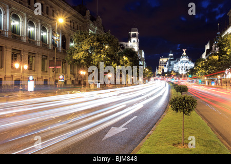 Gran via street in Madrid at night - Stock Photo