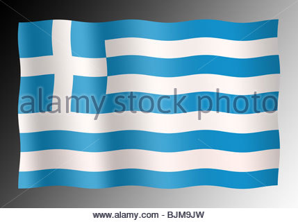 Digital illustration Greek flag. - Stock Photo
