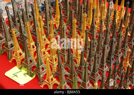 miniature Eiffel Towers for sale in Paris souvenir shop France - Stock Photo