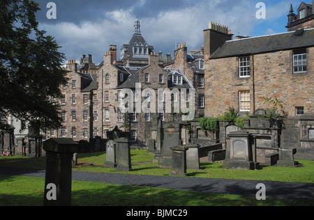 Greyfriars Kirkyard in Edinburgh's Old Town. - Stock Photo