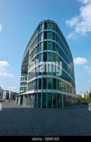 Office building in Westhafen, Frankfurt, Hesse, Germany, Europe - Stock Photo