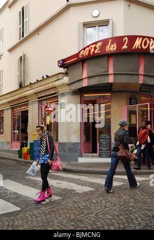 Front of Cafe des 2 Moulins famous for Amelie film Paris France - Stock Photo